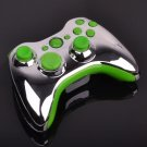 Chrome Replacement Shell For Xbox 360 Wireless Controller With Green Inserts
