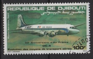 Djibouti Airmail 1983 -  Scott  C178 CTO  -  100fr, DC 4, Air France 50th anniv (Q-709)