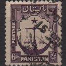 PAKISTAN 1948/57 - Scott 25 used - 3p, Scales, Star & Crescent  (6-534)