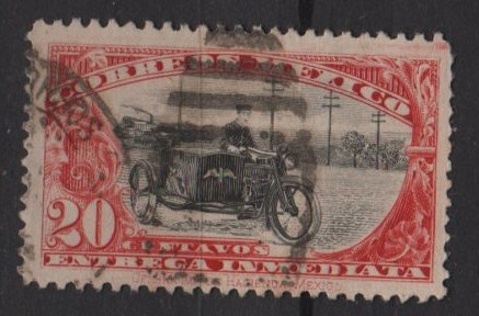Mexico SPECIAL DELIVERY 1923 - Scott E2 used - 20c, Motorcycle Postman    (Ru-603)