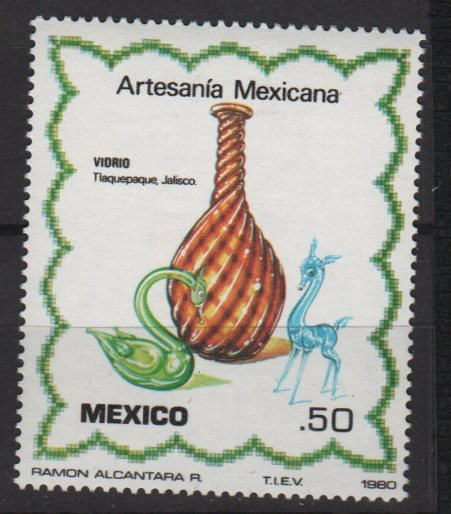 Mexico 1980  - Scott  1220 MNH  - 50c, Artisan Glass vase & animals (8-342*)
