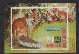 Equatorial Guinea 1978  -Unlisted Cinderella stamps - imperf souvenir sheet of 1 - Fox  (ss3-51)