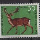 Germany semi postal 1966 -Scott B414 MNH - 30 + 15 pf, Animals, Fallow Deer  (9-390)