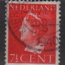 NETHERLANDS 1940/47 -  Scott  217 used – 7.1/2c,  Queen Wilhelmina (9-529)