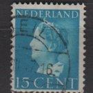 NETHERLANDS 1940/47 -  Scott  220 used – 15c,  Queen Wilhelmina  (9-536)