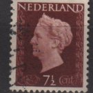 NETHERLANDS 1947/48 - Scott  288 used - 7.1/2c,  Queen Wilhelmina (9-588)