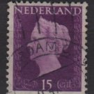 NETHERLANDS 1947/48 - Scott  291 used - 15c,  Queen Wilhelmina   (9-592)