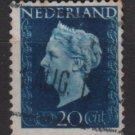 NETHERLANDS 1947/48 - Scott  292 used - 20c,  Queen Wilhelmina  (9-594)