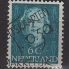 NETHERLANDS 1949 - Scott 307 used - 6c, Queen Juliana (9-608)