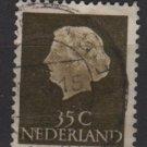 Netherlands 1953/71 - Scott 350 used - 35c, Queen Juliana (9-663)