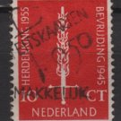 Netherlands 1955  - Scott  367  used -  10c, Flaming sword, Liberation 10th anniv  (9-687)
