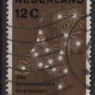 Netherlands 1962 - Scott 392 used - 12c, Telephone network    (9-710)