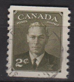 CANADA 1951 - Scott 309 used Coil - 2c, King George VI (10-296)