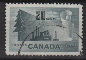 CANADA 1952 - Scott 316  used - 20c,  Paper production (10-308)