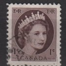 CANADA 1954 - Scott 337 used - 1c Queen Elizabeth II   (10-336)