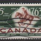 CANADA 1963 - Scott 413 used - 5c,  Postrider & 1st Land mail  (10-437)