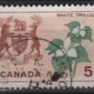 CANADA 1964 - Scott 418 used - 5c,  White Trillium & Arms  (10-449)