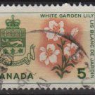 CANADA 1964 - Scott 419 used - 5c, White Garden Lily & Arms of Quebec   (10-451)