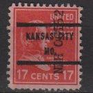 "USA 1938 - Scott 822 used - 17c, Andrew Johnson, Precancel. ""KANSAS CITY, MO""   (12-586)"