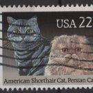 USA 1988 - Scott 2375 used - 22c,  American Shorthair Cat & Persian cat (A-44)