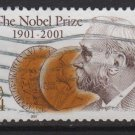 USA 2001 - Scott 3504 used - 34c , Alfred Nobel & Medals   (red-1000)