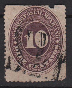 Mexico 1886 - Scott 180 used - 10c, Numeral, slight damage (R-633)
