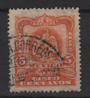 Mexico 1903  - Scott 307 used - 5c, Coat of Arms (Ra-385)