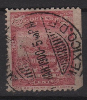 Mexico 1898 - Scott  287  used - 20c, Mail Coach (Red-320)