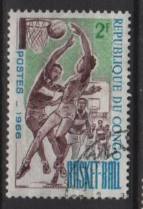 People's Republic of CONGO 1966 -  Scott 144 used -2fr, basketball (13-216)