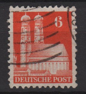 Germany 1948 -Scott 638 used- 6pf, Our Lady's Church Munich  (13-638)