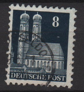 Germany 1948 -Scott 640 used- 8pf, Our Lady's Church Munich  (13-641)