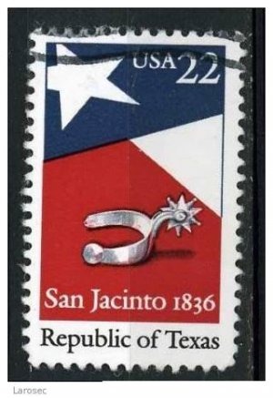 USA 1986 - Scott 2204 used - 22c,  San Jacinto Republic of Texas (o-626)