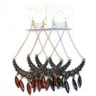 Silver & black tone chandelier earrings.