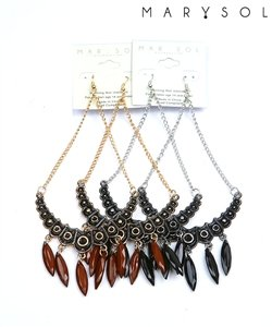 Silver & black tone chandelier earrings.