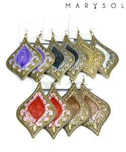 Blue, Teal & Antique gold drop earrings