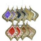 Mint green, Grey & Antique gold drop earrings