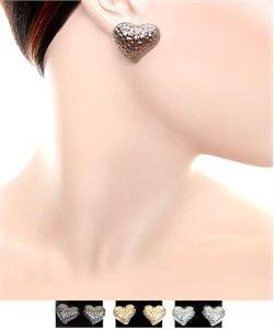 Big heart post earrings ( gun metal tone)