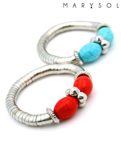 Streach Metal Braclet  w/red turquise stone