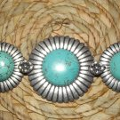 CHUNKY SILVER & TURQUISE LINK BRACELET