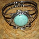 CUTE SILVER & TURQUISE FLOWER BANGLE