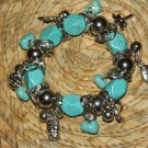 SILVER & TURQUISE STREACH CHARM BRACELET