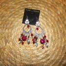 FUSHIA/RED & SILVER CHANDERLIER EARRINGS