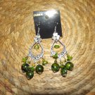 GREEN & SILVER CHANDERLIER EARRINGS