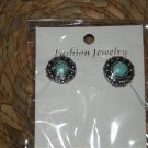 TURQUISE & SILVER BUTTON STUD EARRINGS