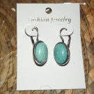 TURQUISE & SILVER BUTTON DROP DANGLE EARRINGS