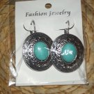 TURQUISE & SILVER BIG BUTTON DROP DANGLE EARRINGS