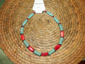 RED TURQUISE/TURQUISE & SILVER NECKLESS