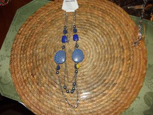 BLUE/YELLOW-CIRCLE BEADED NECKLESS