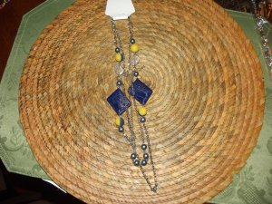 BLUE/YELLOW- BEADED & CHAIN NECKLESS