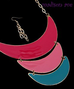 PINK GOLD AND TEAL LAYERED NECKLACE